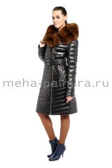 Кожаное зимнее пальто на пуху с мехом куницы
