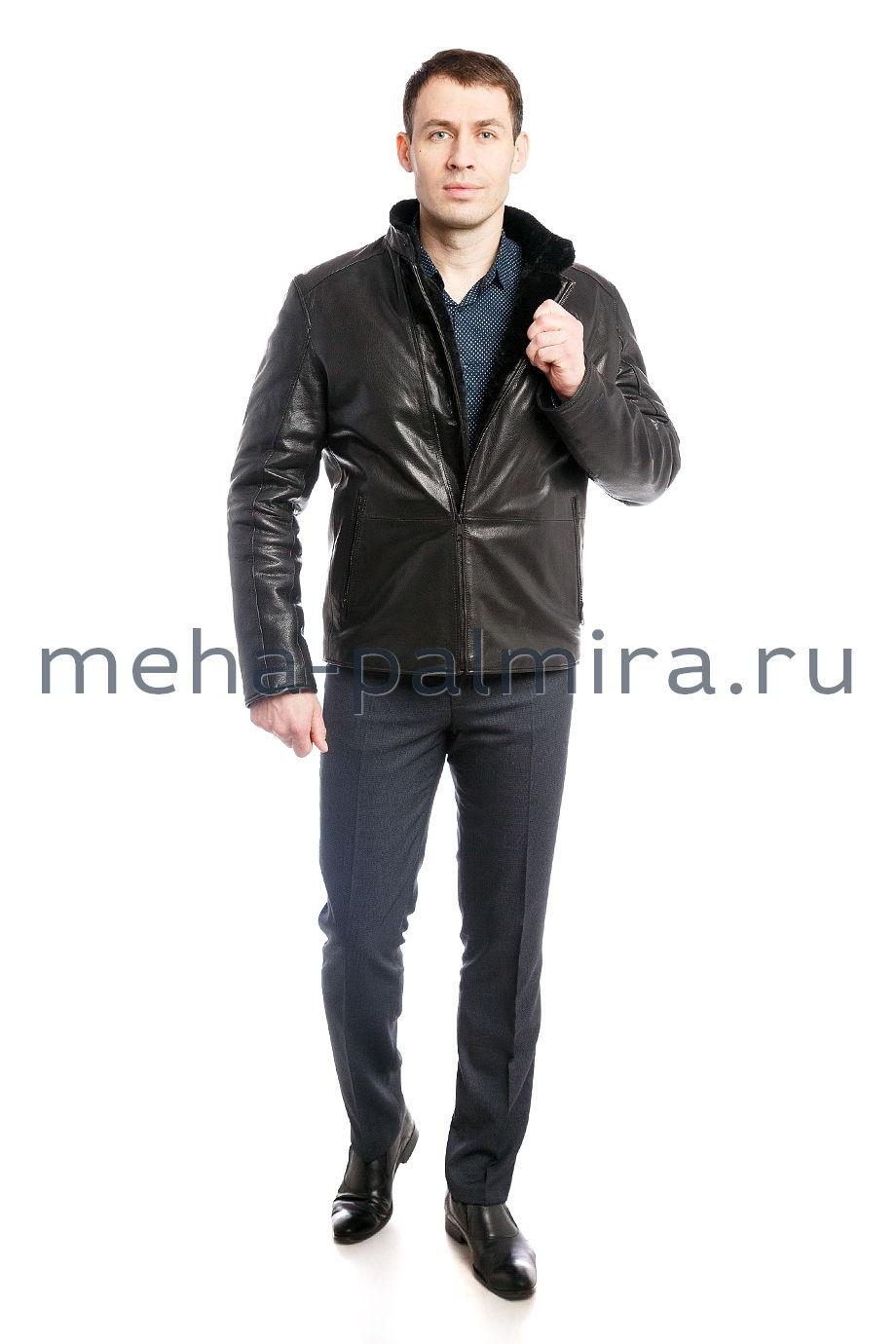 Мужская дубленка - косуха, чёрного цвета