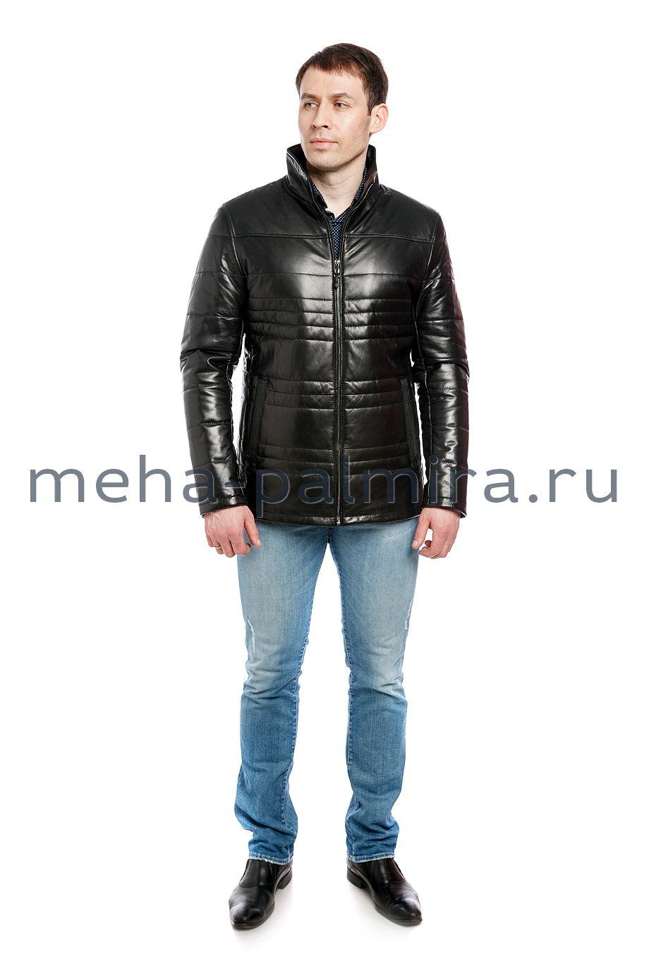 Утеплённая кожаная куртка на молнии
