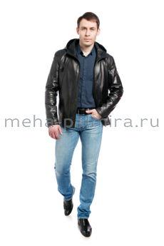 Мужская кожаная куртка с капюшоном