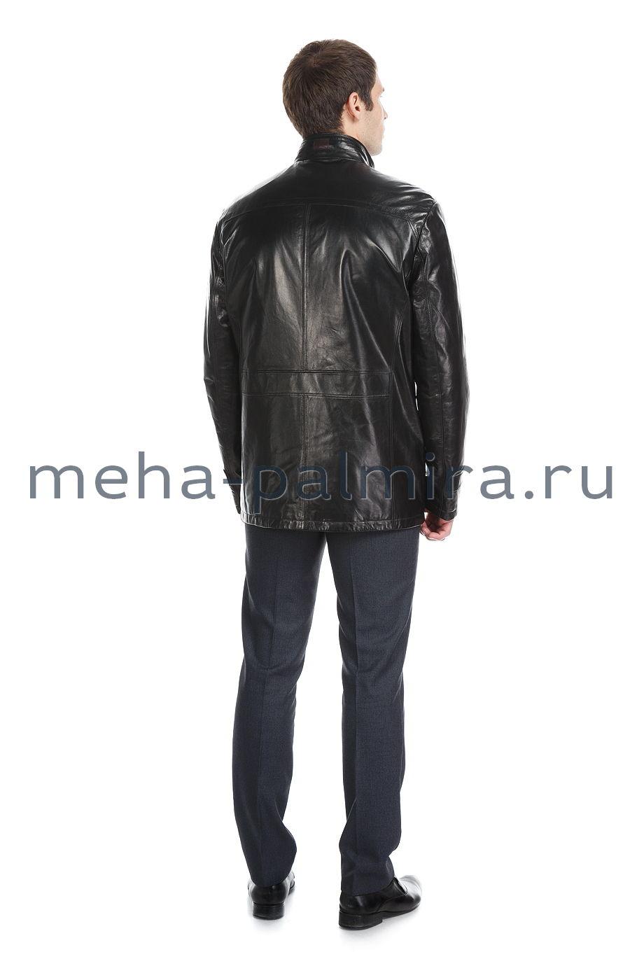 Мужской кожаный френч с воротником-стойкой, цвет - черный