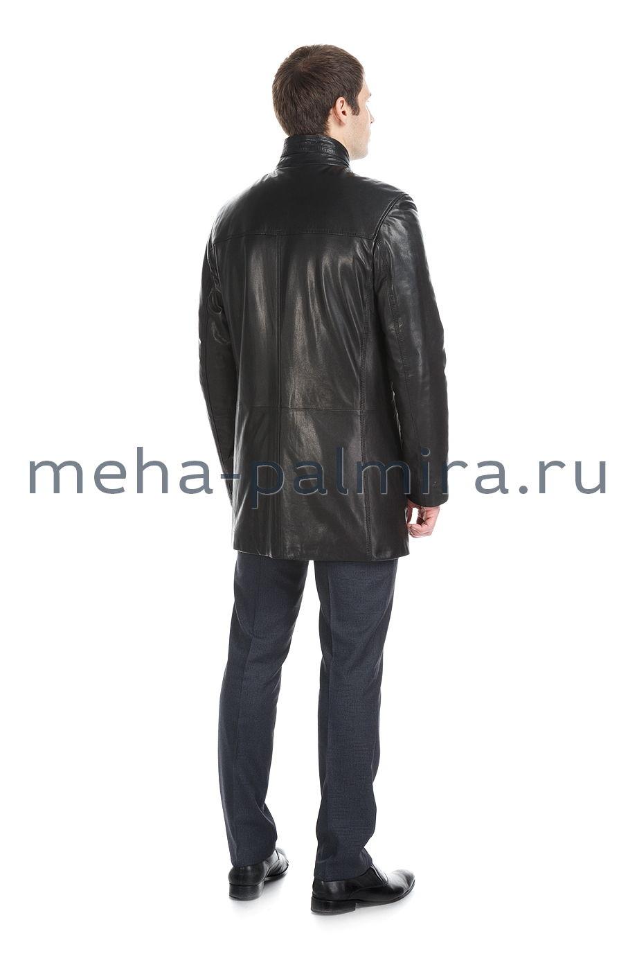 Кожаный френч с воротником-стойкой, черный цвет