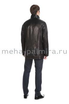 Итальянский кожаный френч, воротник-стойка, цвет - черный