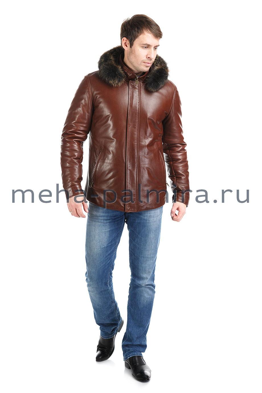 Коричневый кожаный пуховик на молнии со съемным капюшоном, коричневый
