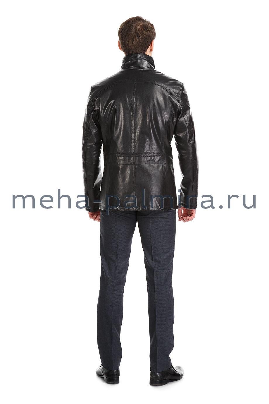 Черная мужская куртка из натуральной кожи на пуговицах