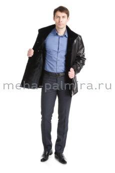 Дубленка мужская, воротник-стойка, черный цвет