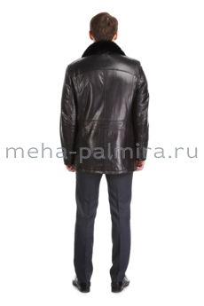 Мужская дубленка с отложной норковый воротником, цвет черный