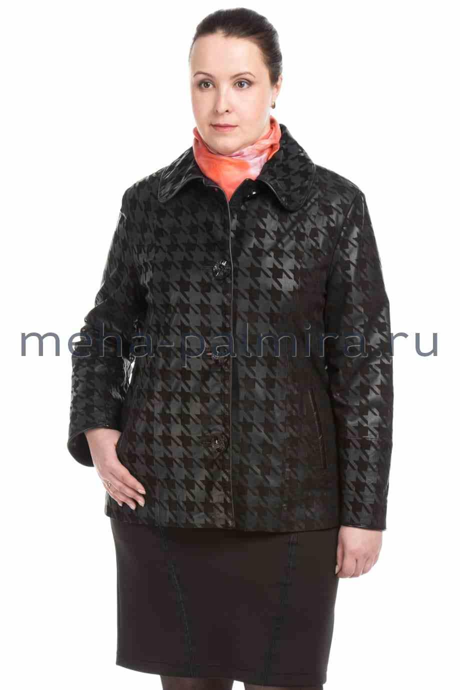 Женская кожаная куртка на пуговицах, геометрический принт