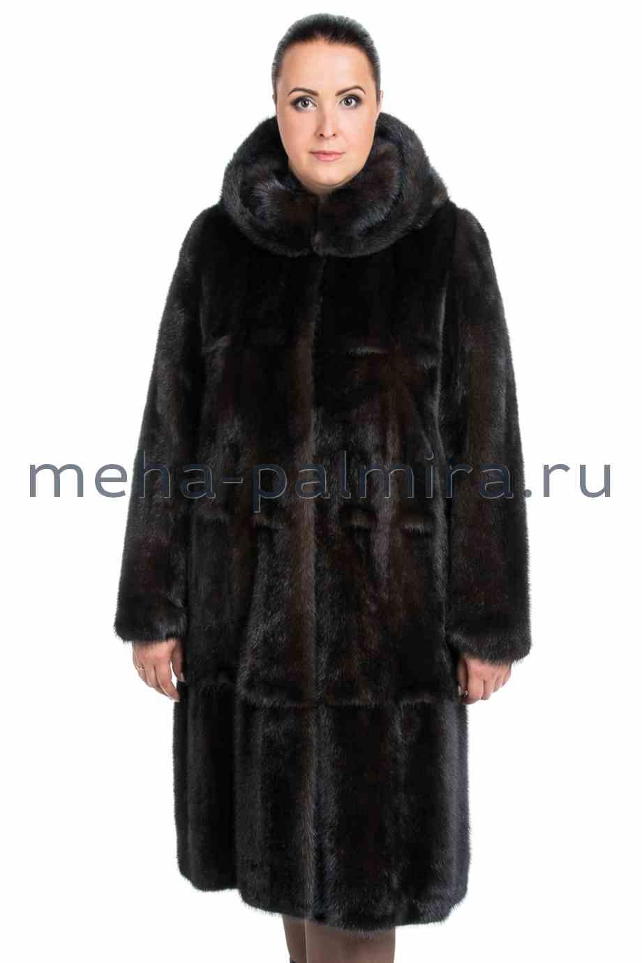 Женская норковая шуба с капюшоном, цвет коричневый
