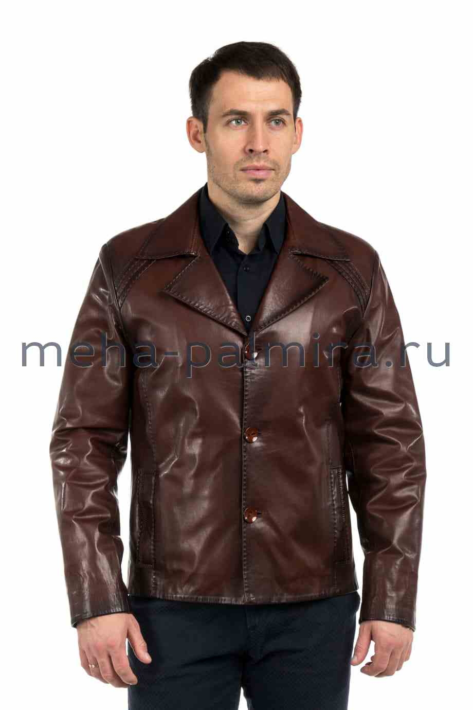 Мужская кожаная куртка на пуговицах с отложным воротником