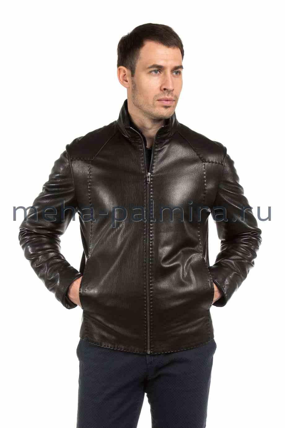 Черная итальянская мужская кожаная куртка