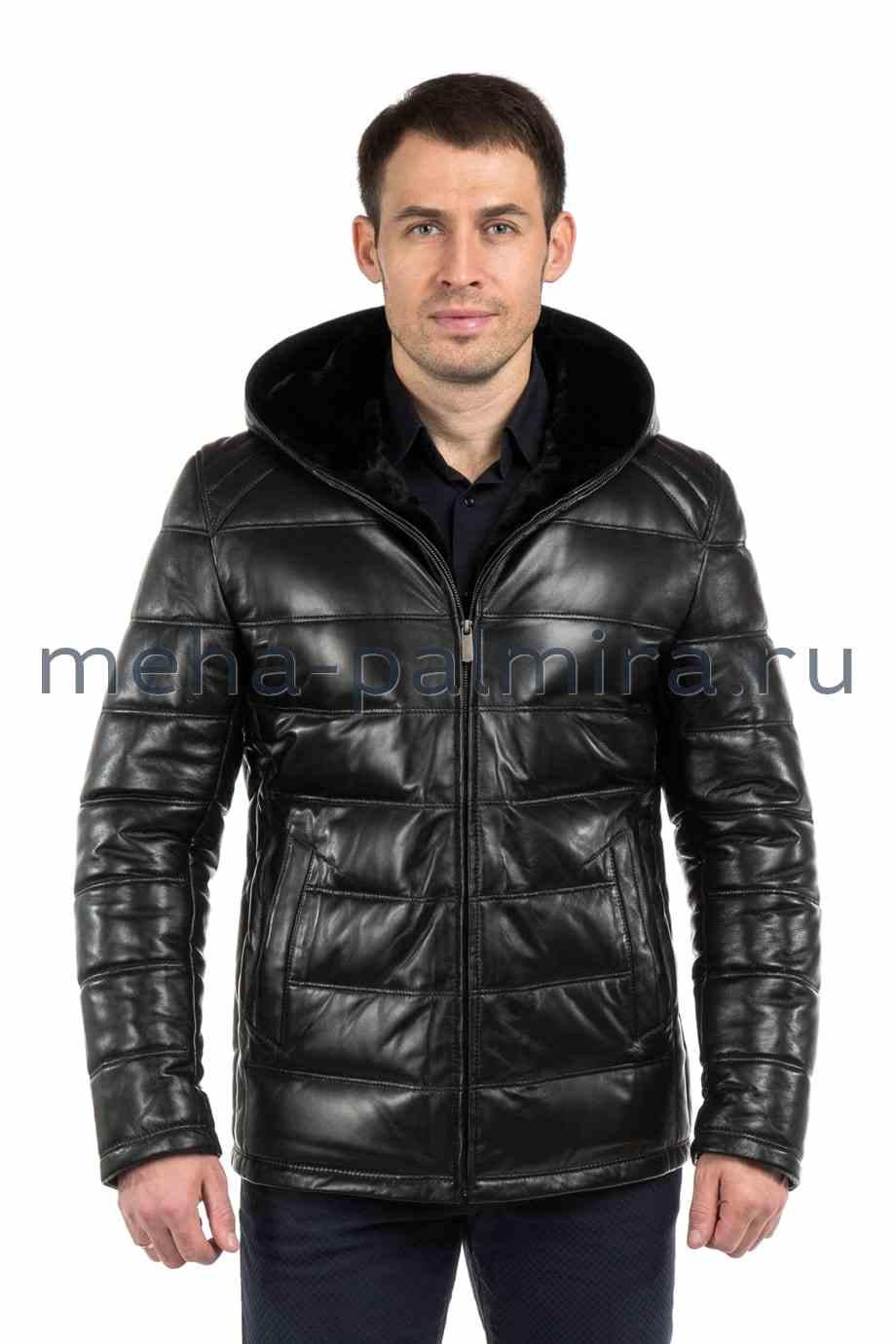 Черный кожаный пуховик с капюшоном мужской