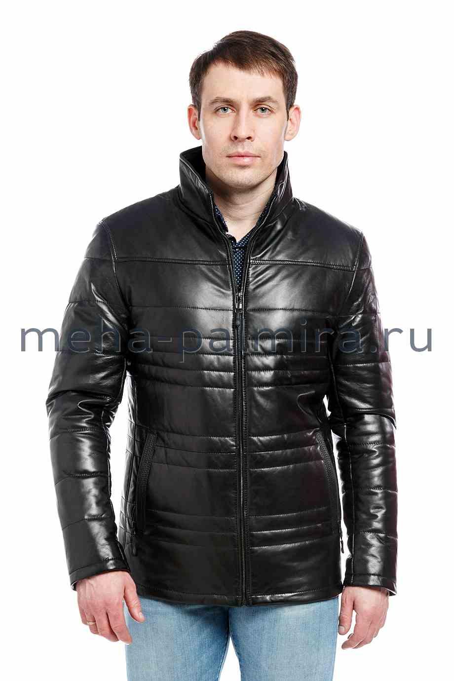 Мужская куртка из кожи утепленная