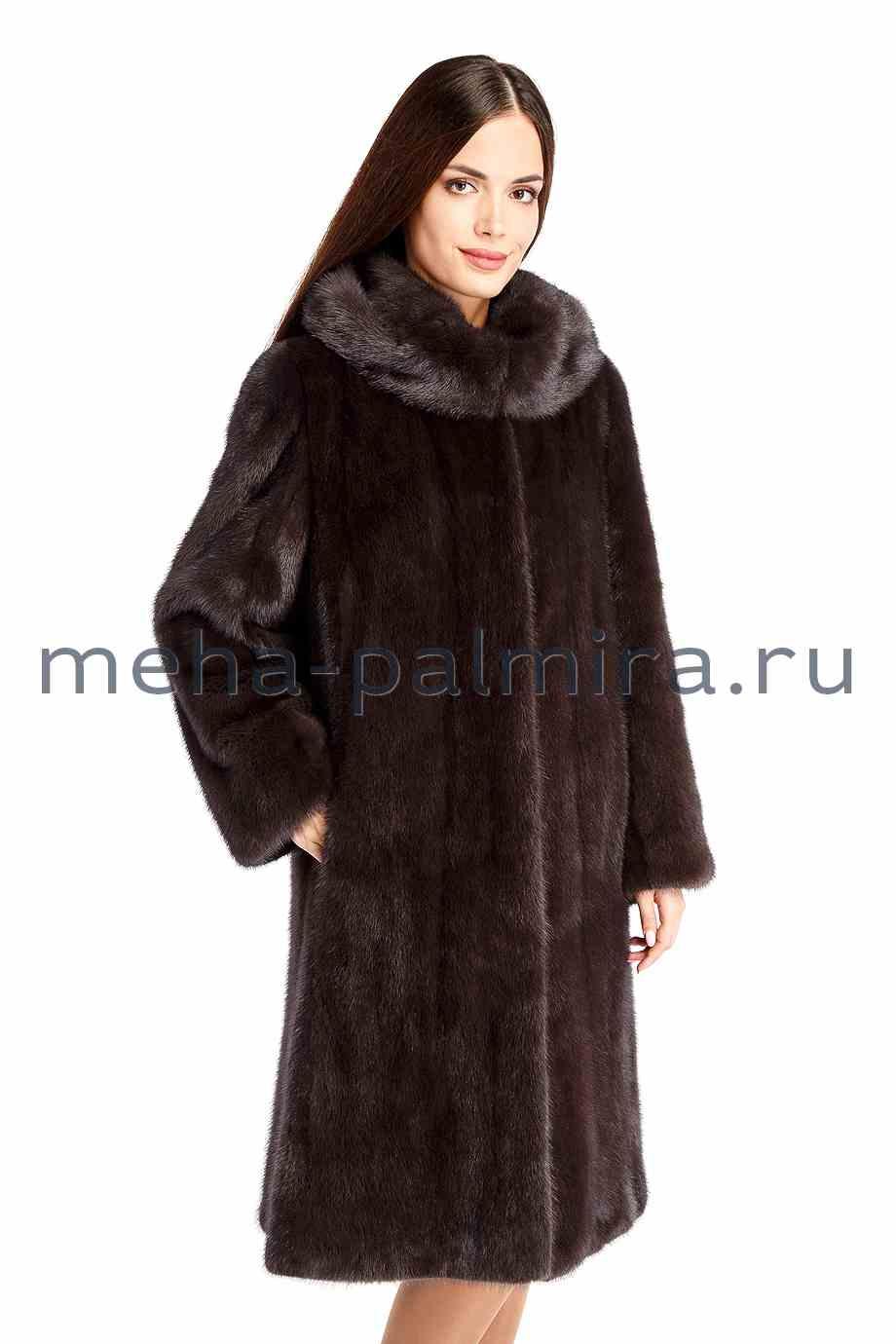 Норковая шуба годе с капюшоном, цвет капучино