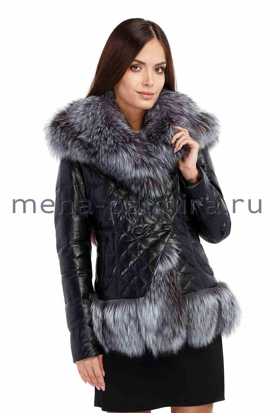 Зимняя куртка из кожи, в отделке мех чернобурки