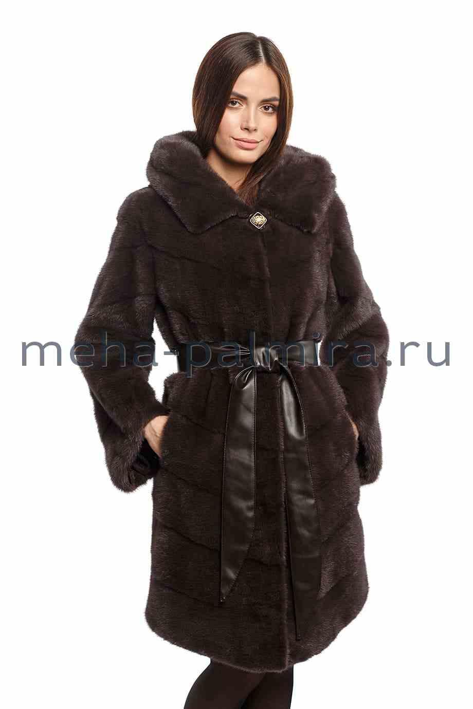 Меховое пальто с капюшоном, цвет уголь