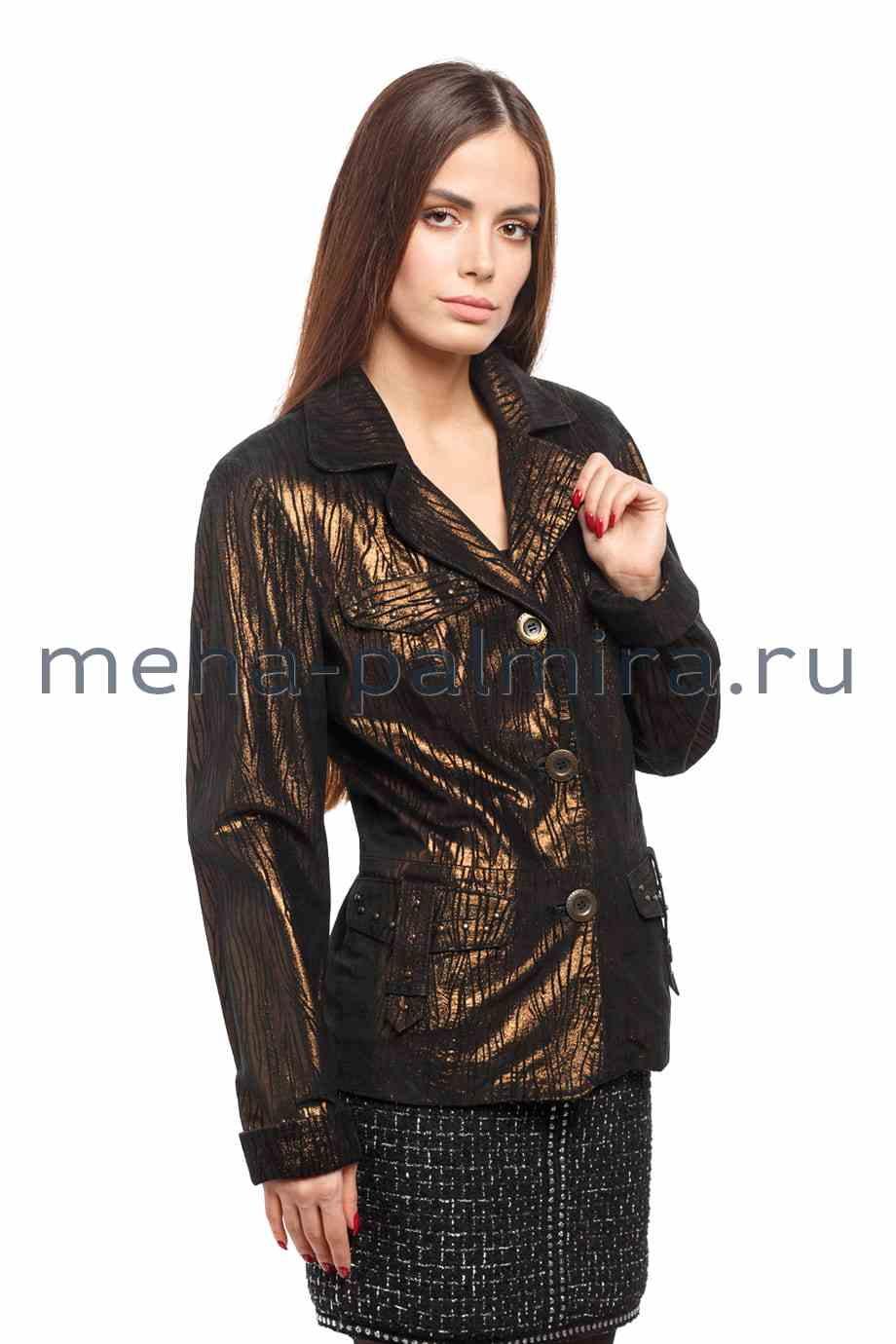 Женская чёрная куртка из замши