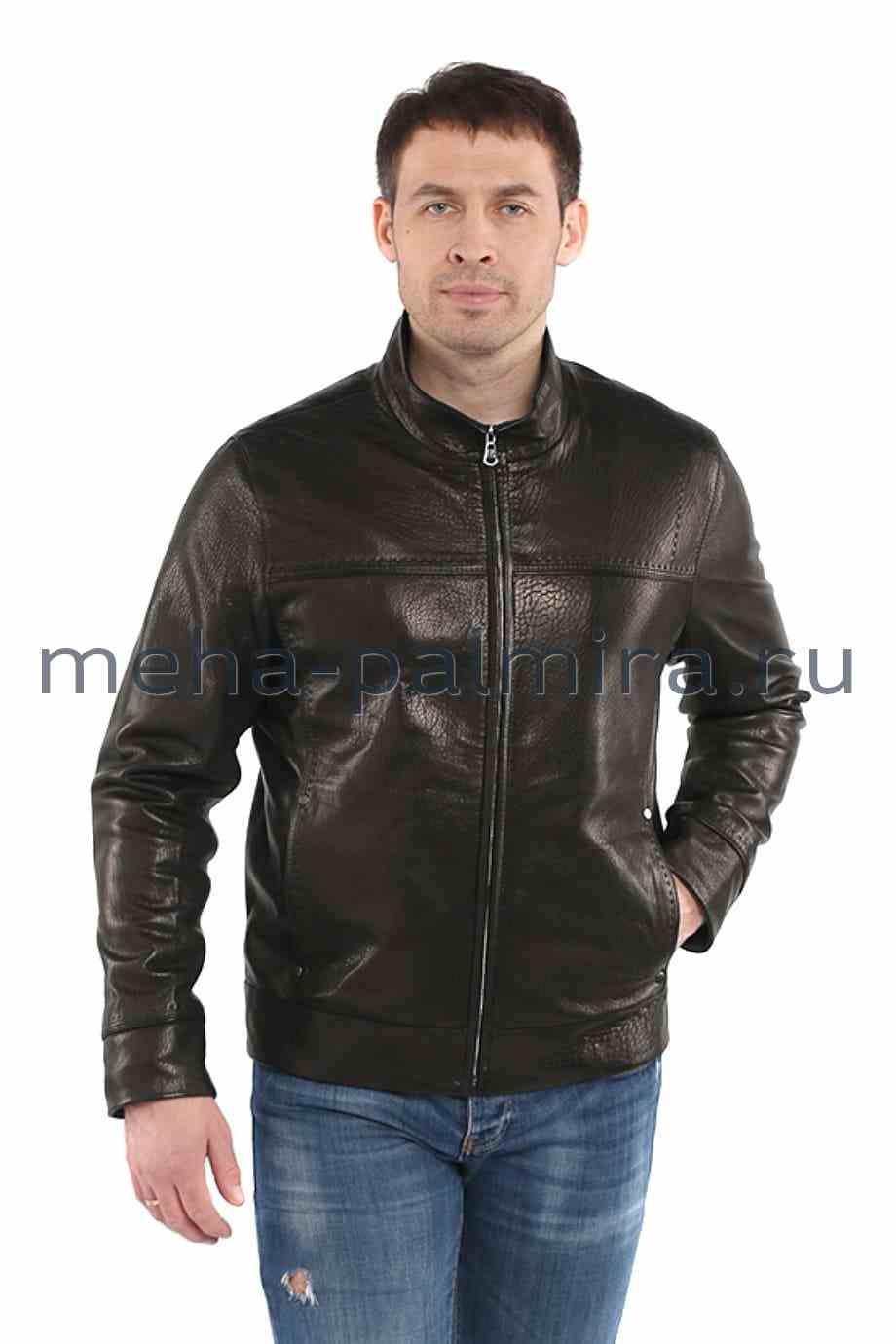 Утепленная кожаная куртка для мужчин