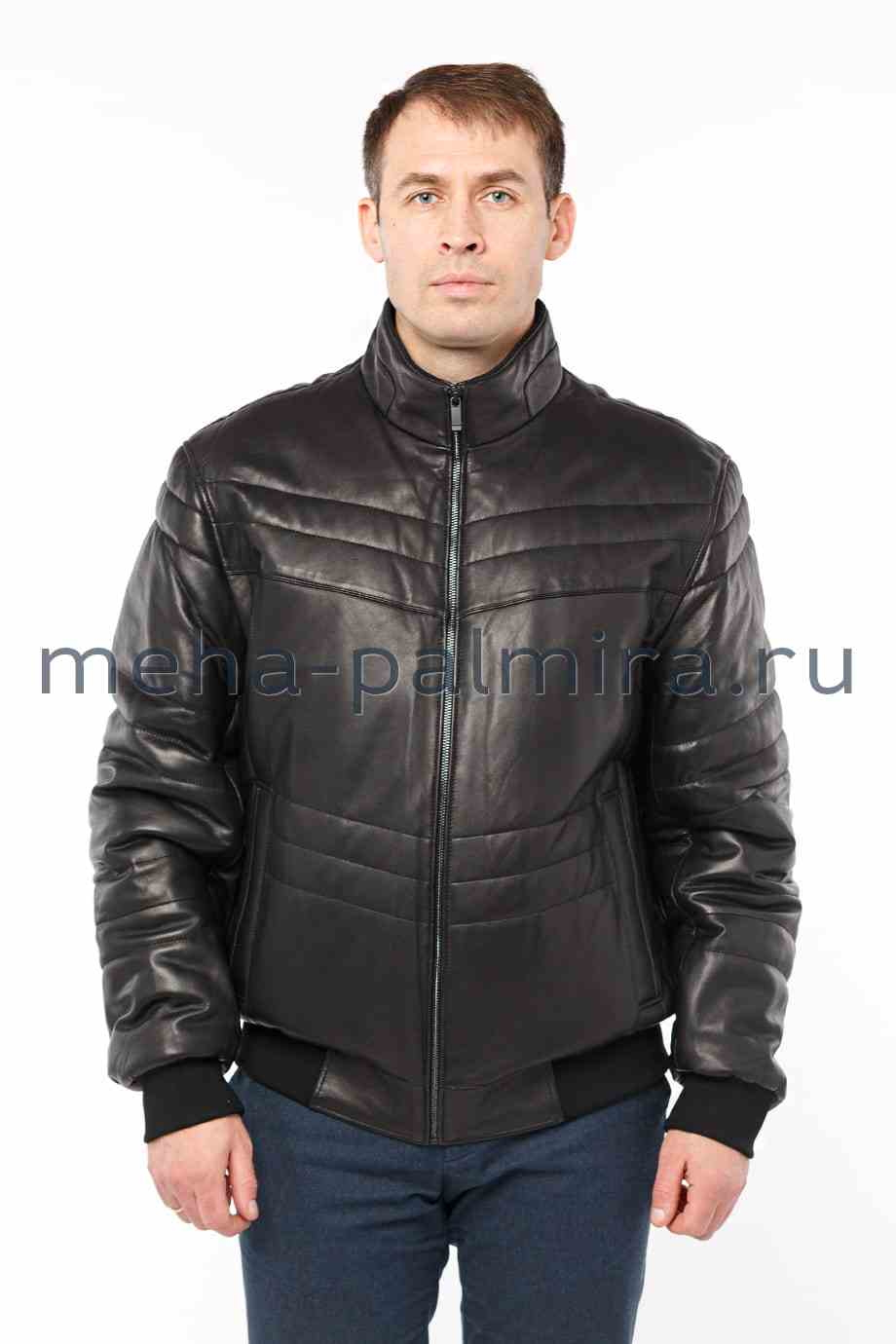 Утеплённая мужская кожаная куртка