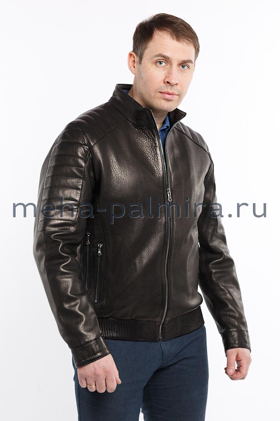 Мужская куртка бомбер из кожи
