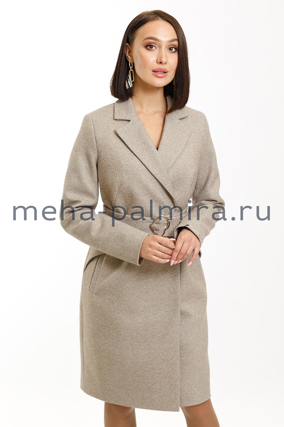Укороченное пальто с поясом из шерсти с кашемиром