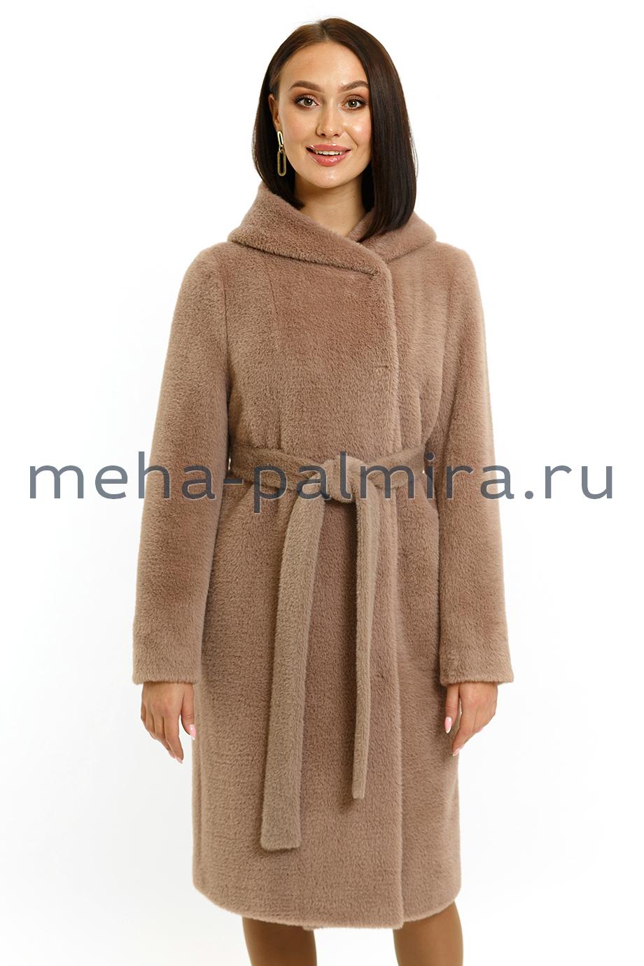 Женское пальто с капюшоном и поясом из шерсти цвет какао