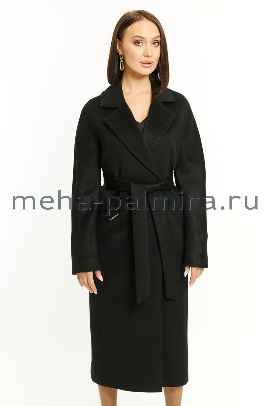 Классическое пальто с английским воротником черного цвета