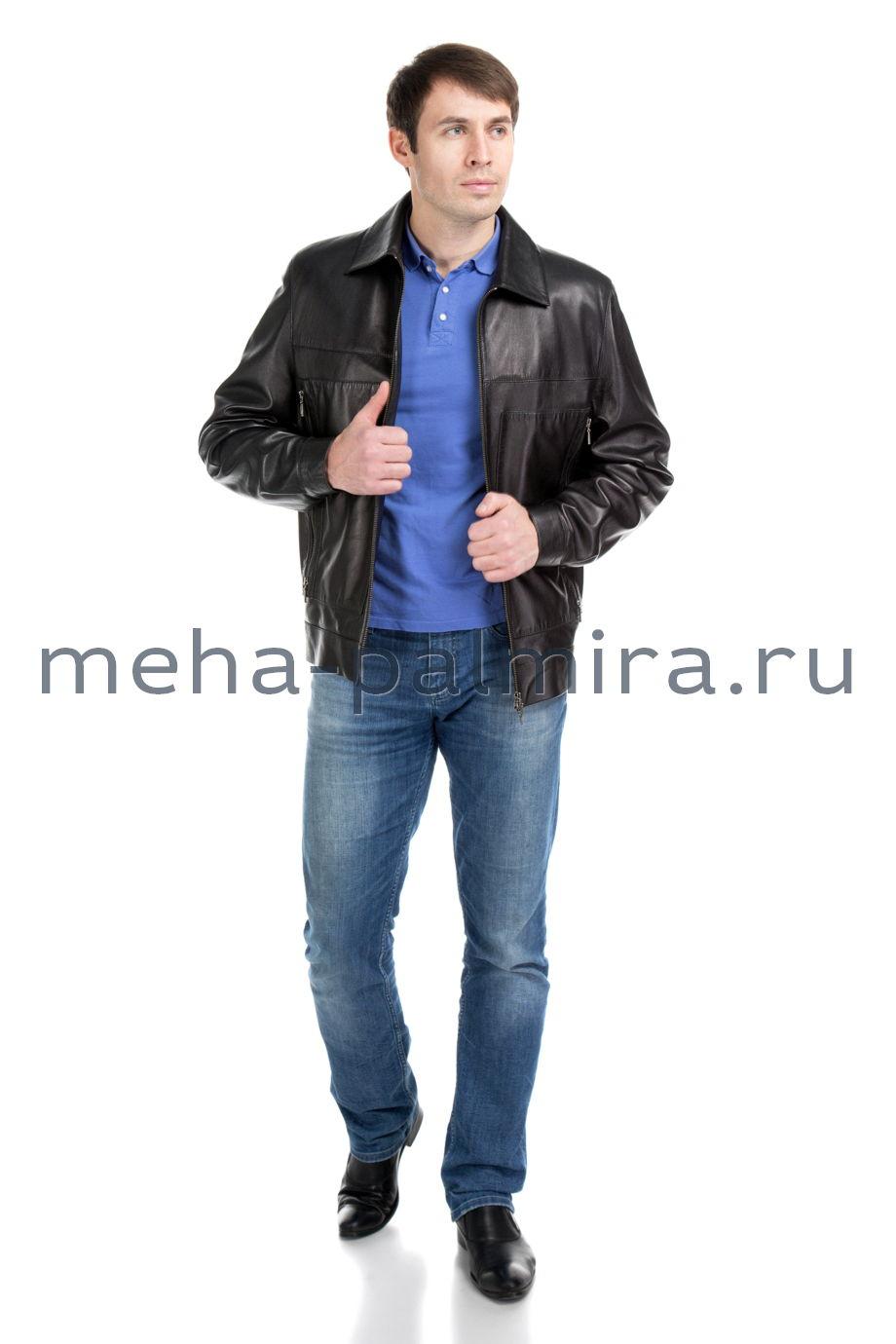 Мужская куртка из натуральной кожи с молниями