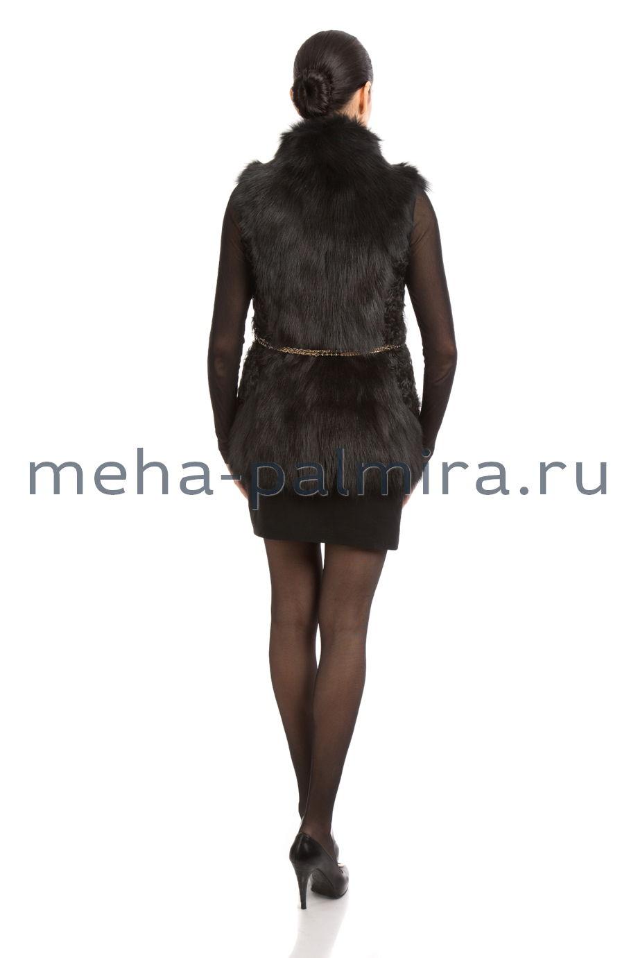 Удлиненная меховая жилетка из овчины и меха тоскана, чёрная