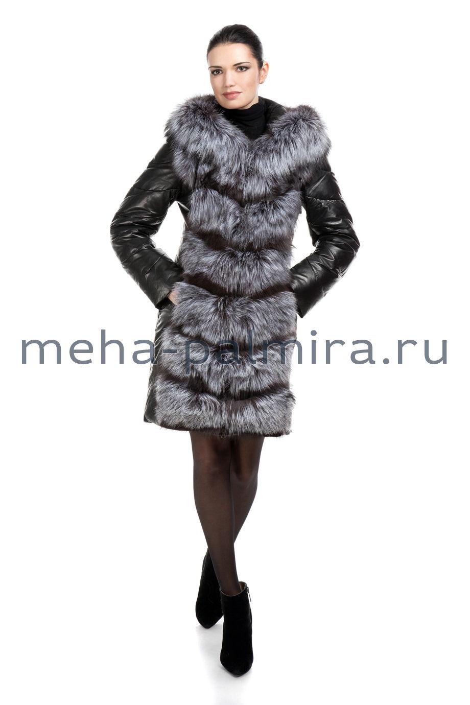 Пуховик из кожи и меха лисы чернобурки