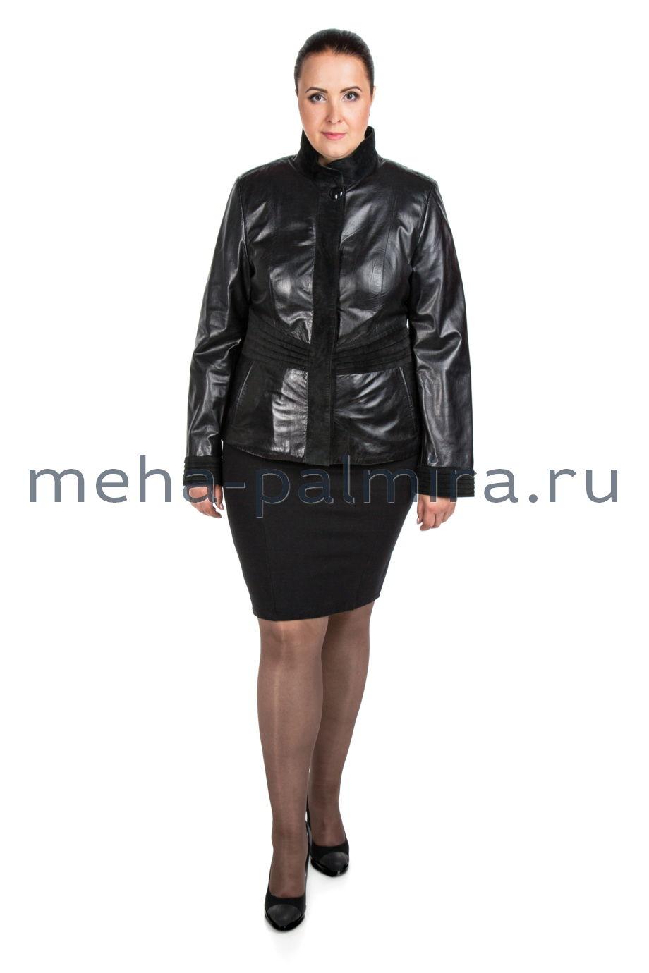 Комбинированная женская куртка из кожи и замши
