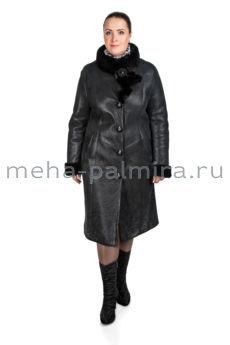 Дубленка женская на пуговицах черного цвета