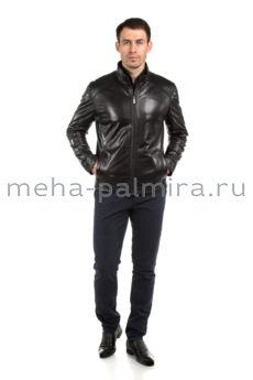 Мужская куртка из натуральной кожи, цвет - черный
