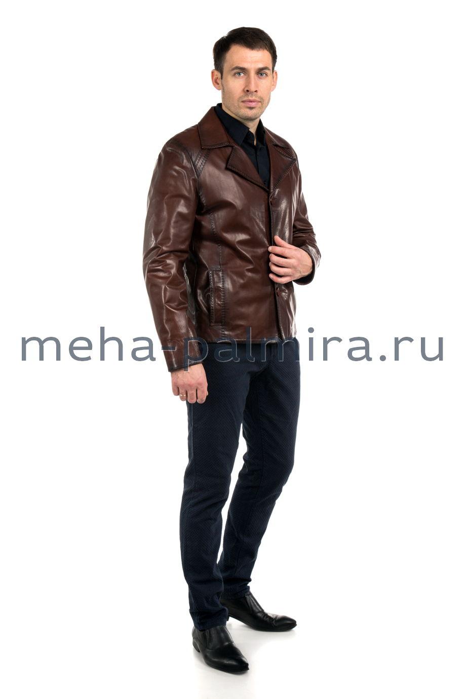 Кожаная куртка на пуговицах с отложным воротником