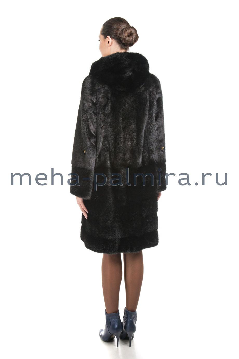 Шуба из норки с капюшоном черного цвета, 100 см
