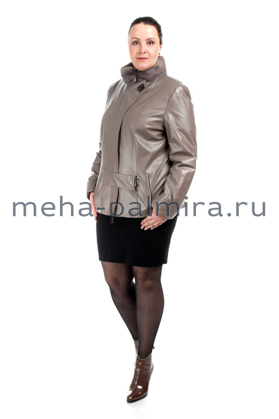 Женская кожаная куртка на синтепоне, цвет бежевый