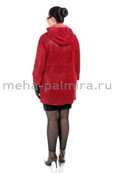 Женский френч из замши красного цвета с капюшоном
