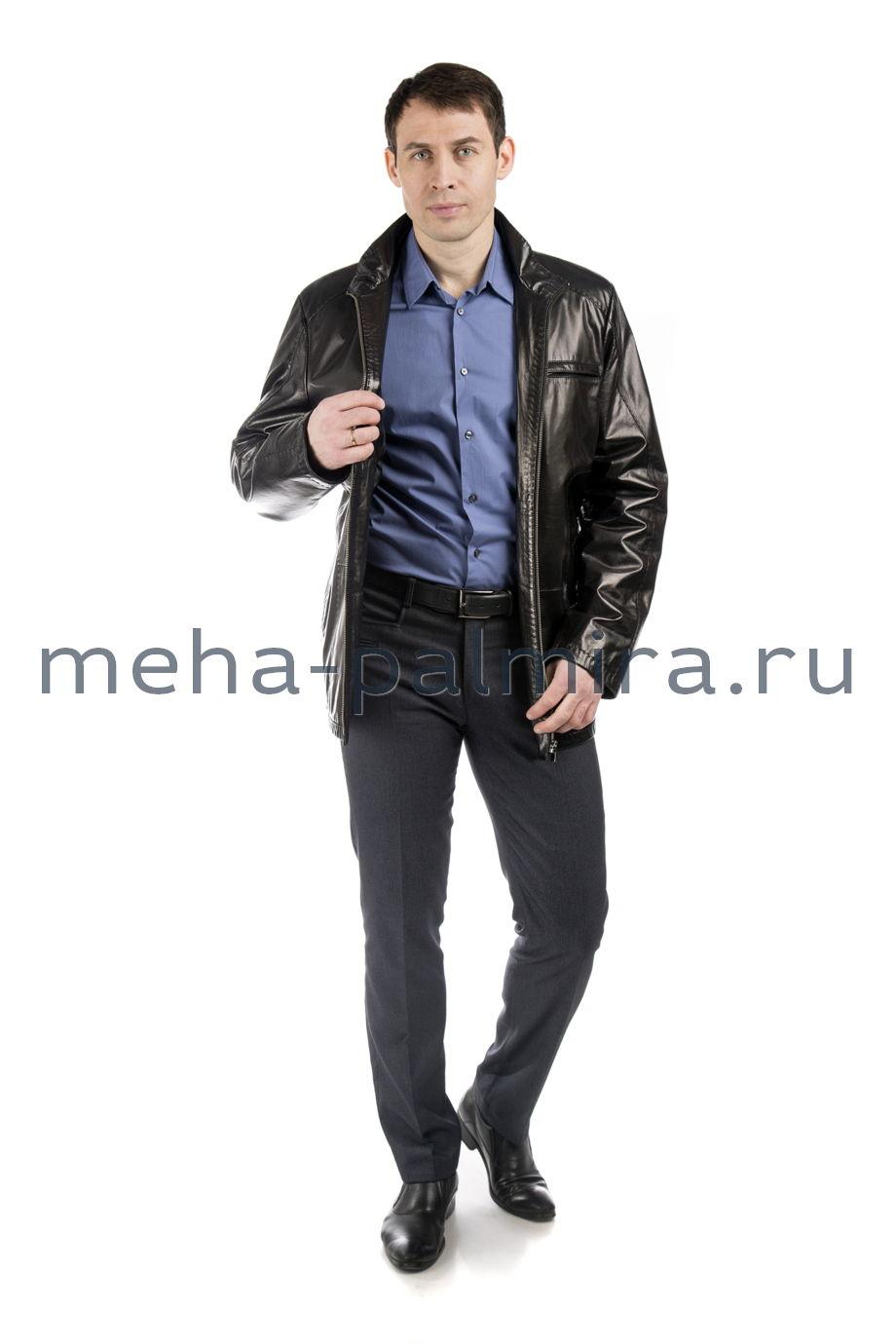 Удлиненная мужская куртка из натуральной кожи на молнии