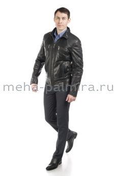 Мужская кожаная куртка темно-серого цвета