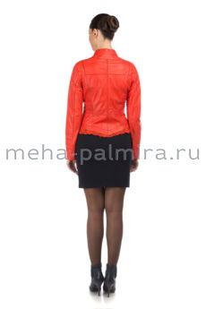Двусторонняя кожаная куртка кораллового цвета