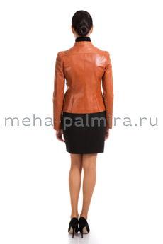 Укороченная рыжая куртка из кожи на молнии