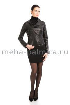 Кожаная куртка с ассиметричной застежкой, ворот хомут