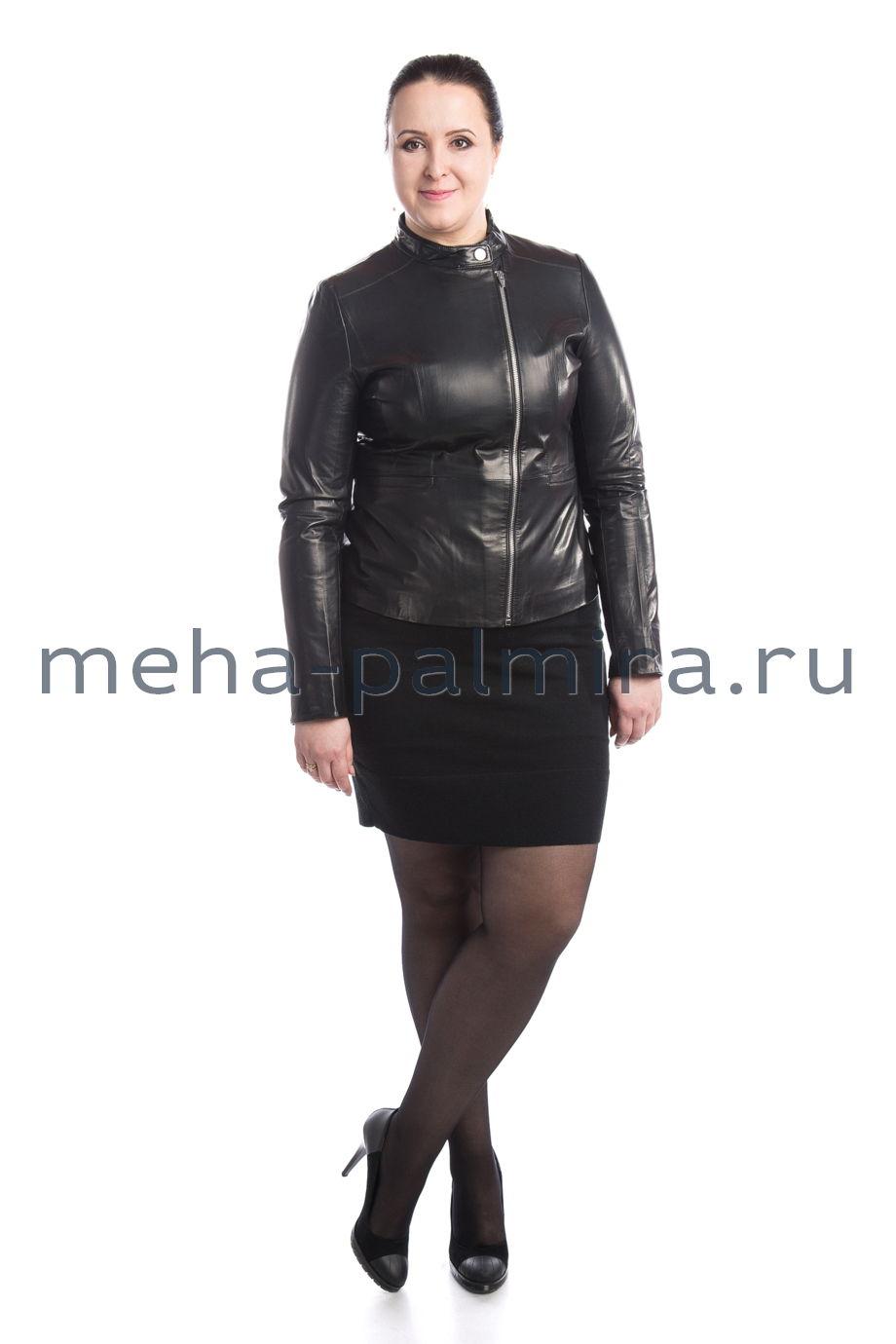 Женская куртка кожаная с боковой молнией