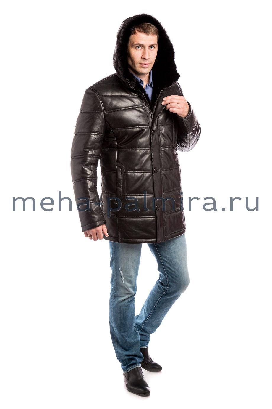 Кожаный мужской пуховик, капюшон с мехом норки