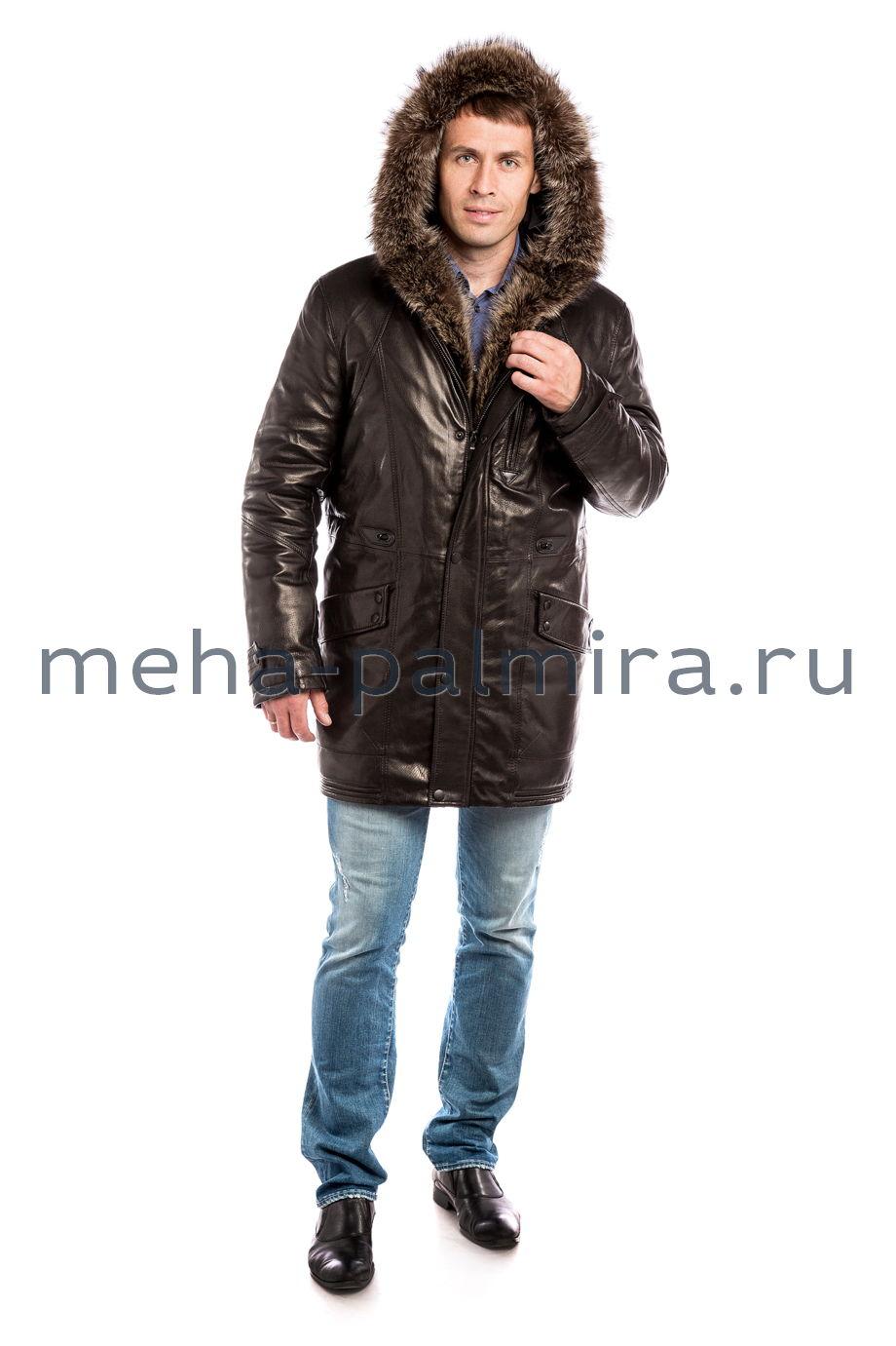 Удлиненный пуховик мужской, капюшон с мехом енота