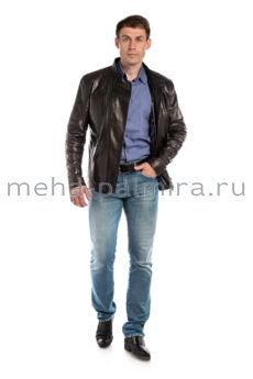 Мужская куртка из кожи воротник стойка