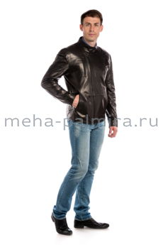 Мужская кожаная куртка на молнии, воротник стойка