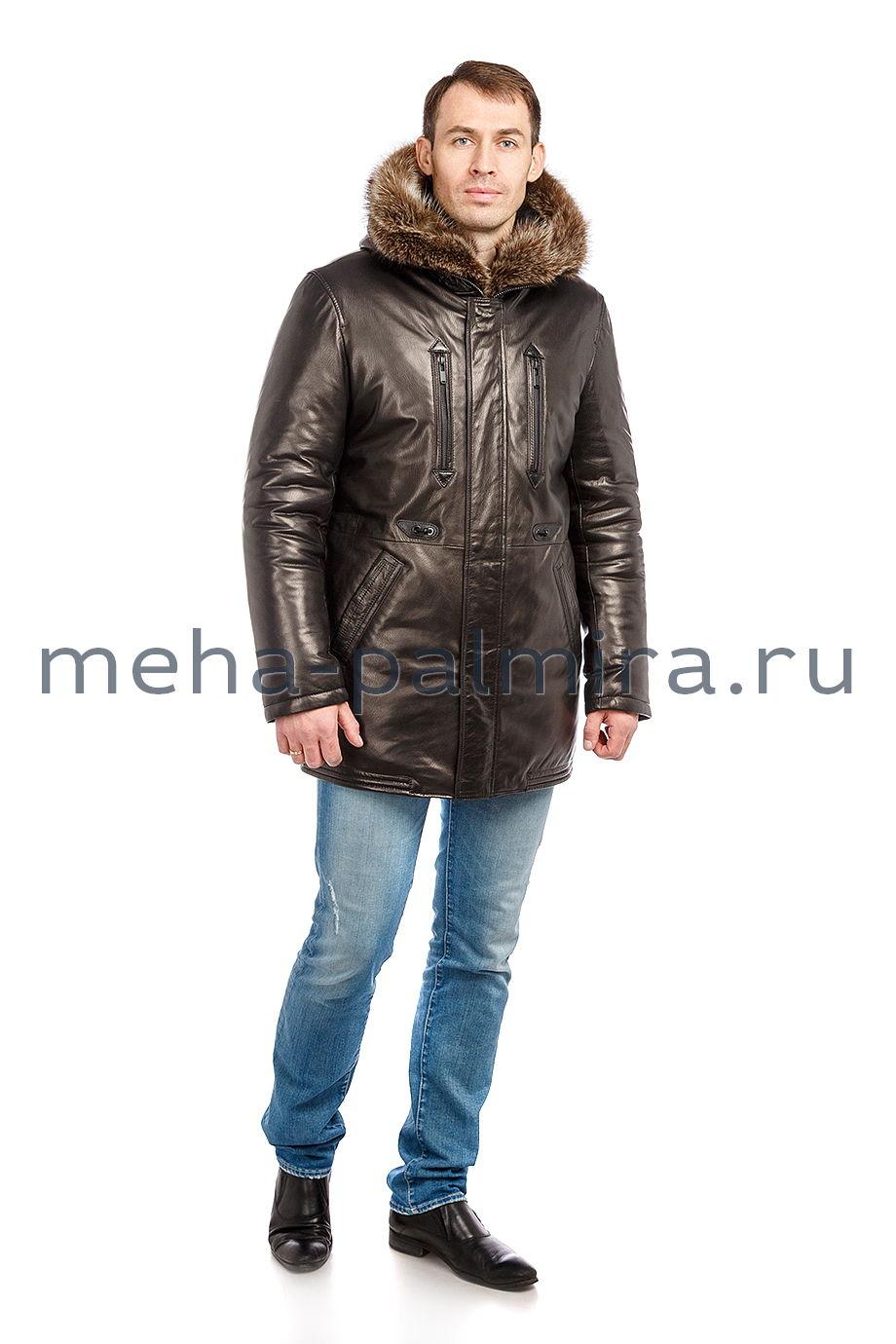 Пуховик мужской кожаный с капюшоном