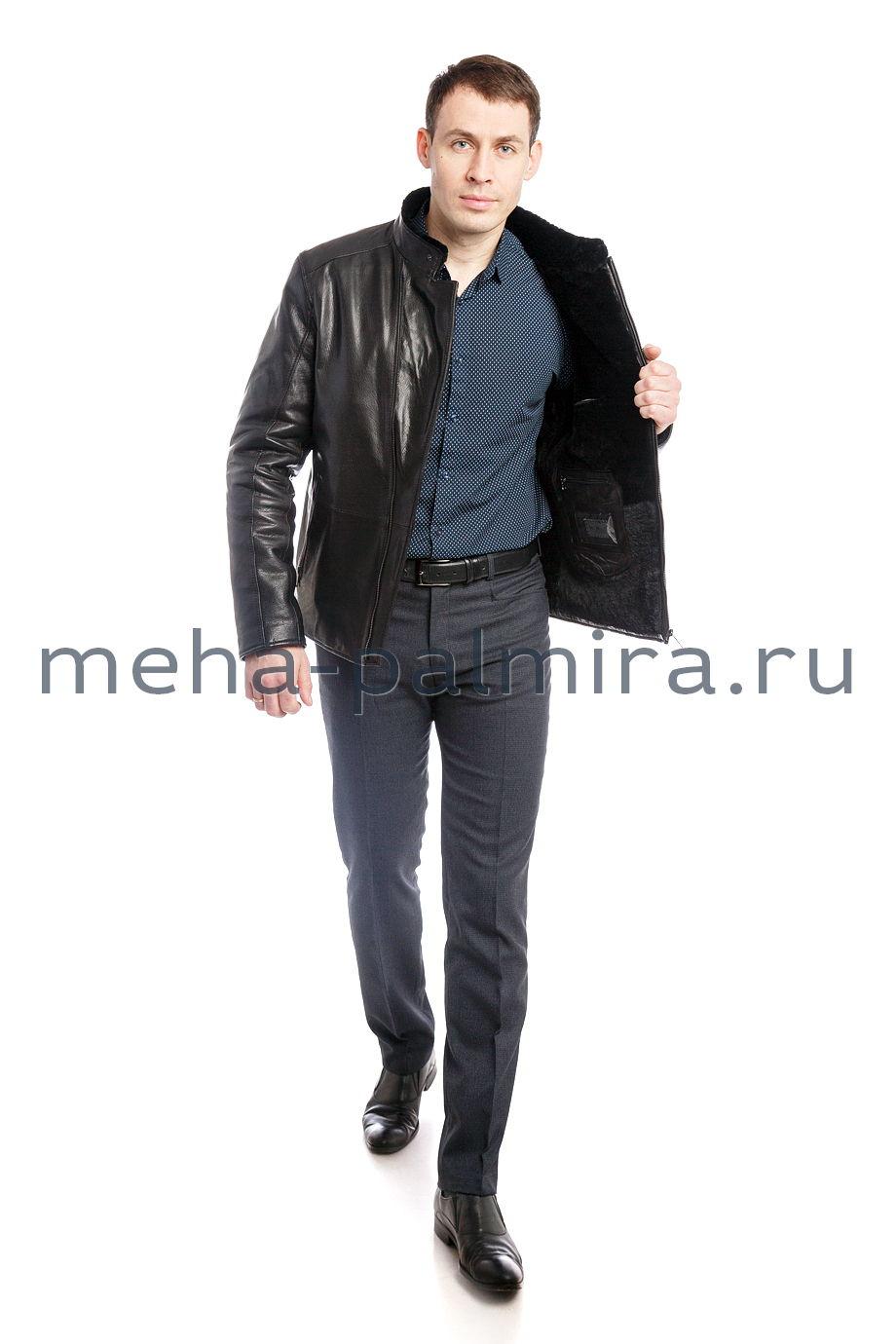 Мужская дубленка косуха чёрного цвета