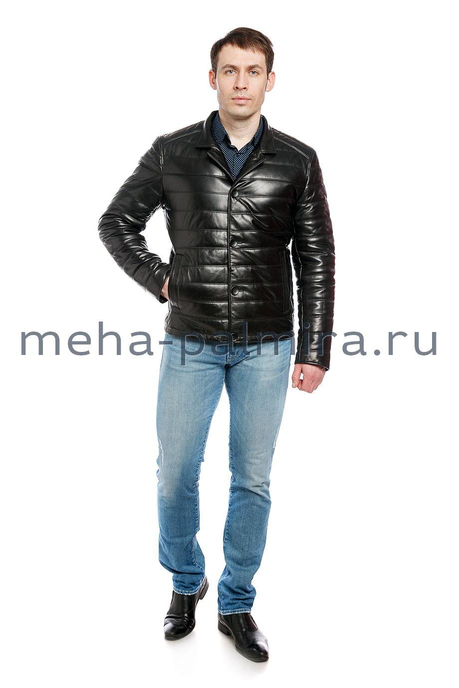 Осенняя кожаная куртка на пуговицах